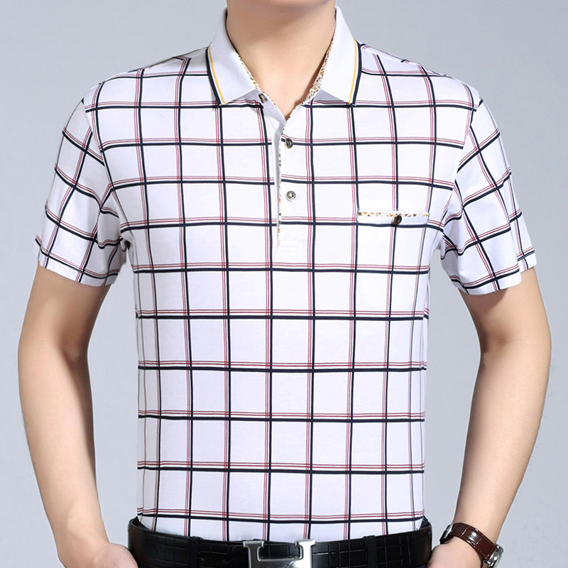 2018 new mens clothing short sleeve   polo   shirt summer pol men plaid brands   polos   tee shirts dress streetwear male poloshirt 1158