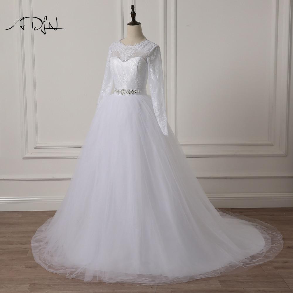 ADLN Elegant Scoop rochie de mireasa cu maneca lunga Lace A-line Alb - Rochii de mireasa - Fotografie 3