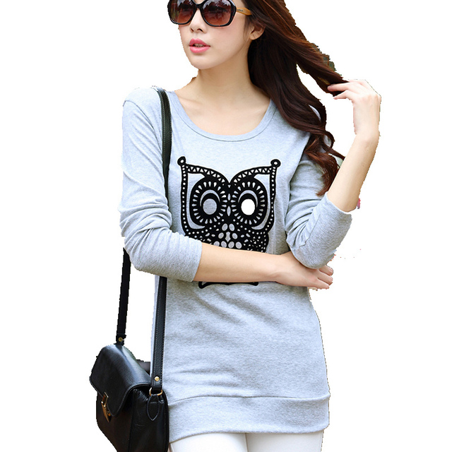Autumn Style Crew Neck Long-Sleeved Long T Shirts Women Tops Girls Tee  Shirts Owl 27c1021d365