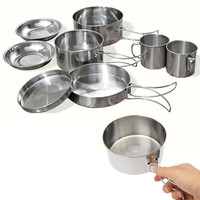 New 8Pcs Outdoor Picnic Pot Pan Kit Stainless Steel Backpacking Cookware Plate Bowl Cup Pan Cover