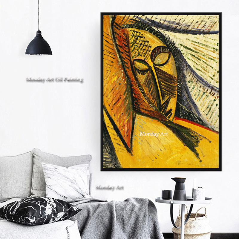 Handpainted Pablo Picasso Head of Sleeping Woman Oil Painting Home Decor Wall Stickers Wall Stickers Art For Living Room Bedroom