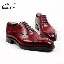 Cie/мужские туфли с квадратным носком на заказ; мужские туфли-оксфорды ручной работы из кожи с натуральным лицевым покрытием GOODYEAR; темно-винная обувь; OX428