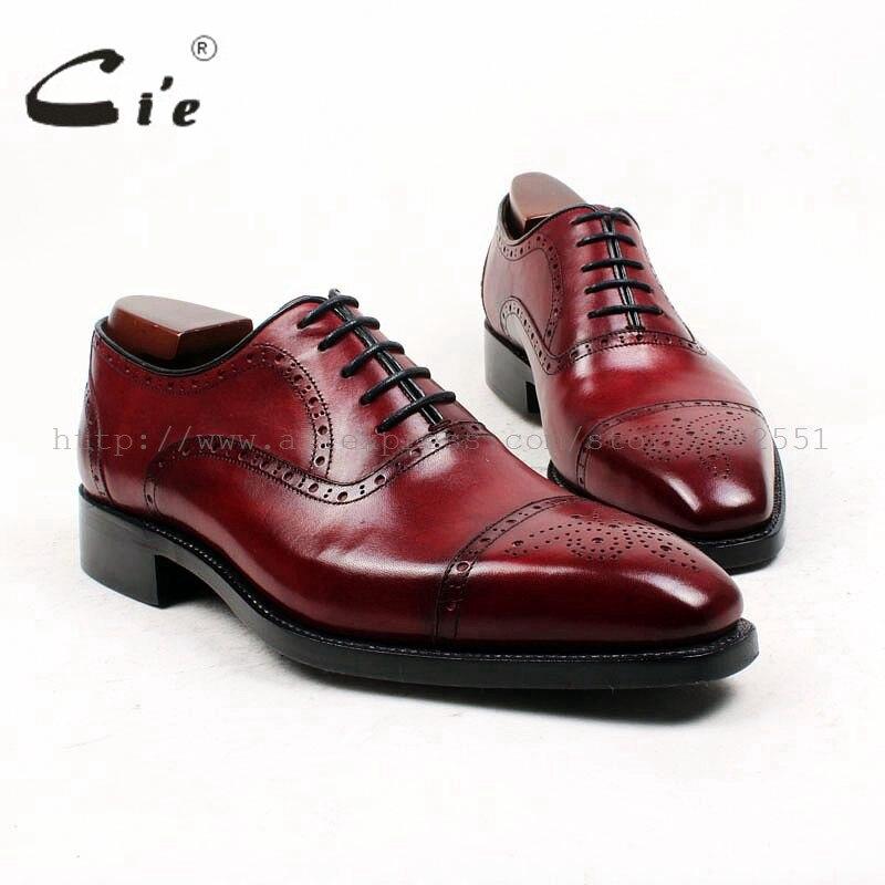 Cie Bout Carré Personnalisé Sur Mesure Hommes de Chaussures À La Main GOODYEAR Cousu de Cuir Pleine fleur Hommes Oxford Chaussures Patine Profonde vin OX428