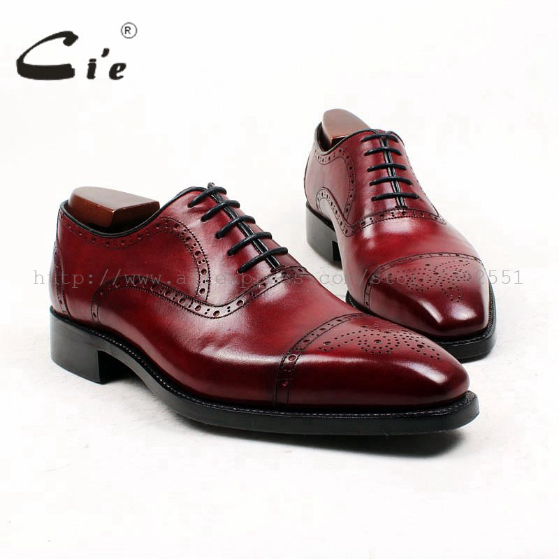 cie Square Toe Custom Bespoke Men's Shoe Handmade GOODYEAR Welted Full Grain Leather Men's Oxford Shoe Patina Deep Wine OX428 cie calf leather bespoke handmade men s square toe derby leather goodyear welt craft mark line shoe color deep flat blue no d98