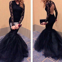 2019 Gorgeous Sexy Black Mermaid Prom Dresses Lace Long Sleeves Floor Length Vestido De Festa Lace Evening Formal Long Party black lace details long sleeves knitwear