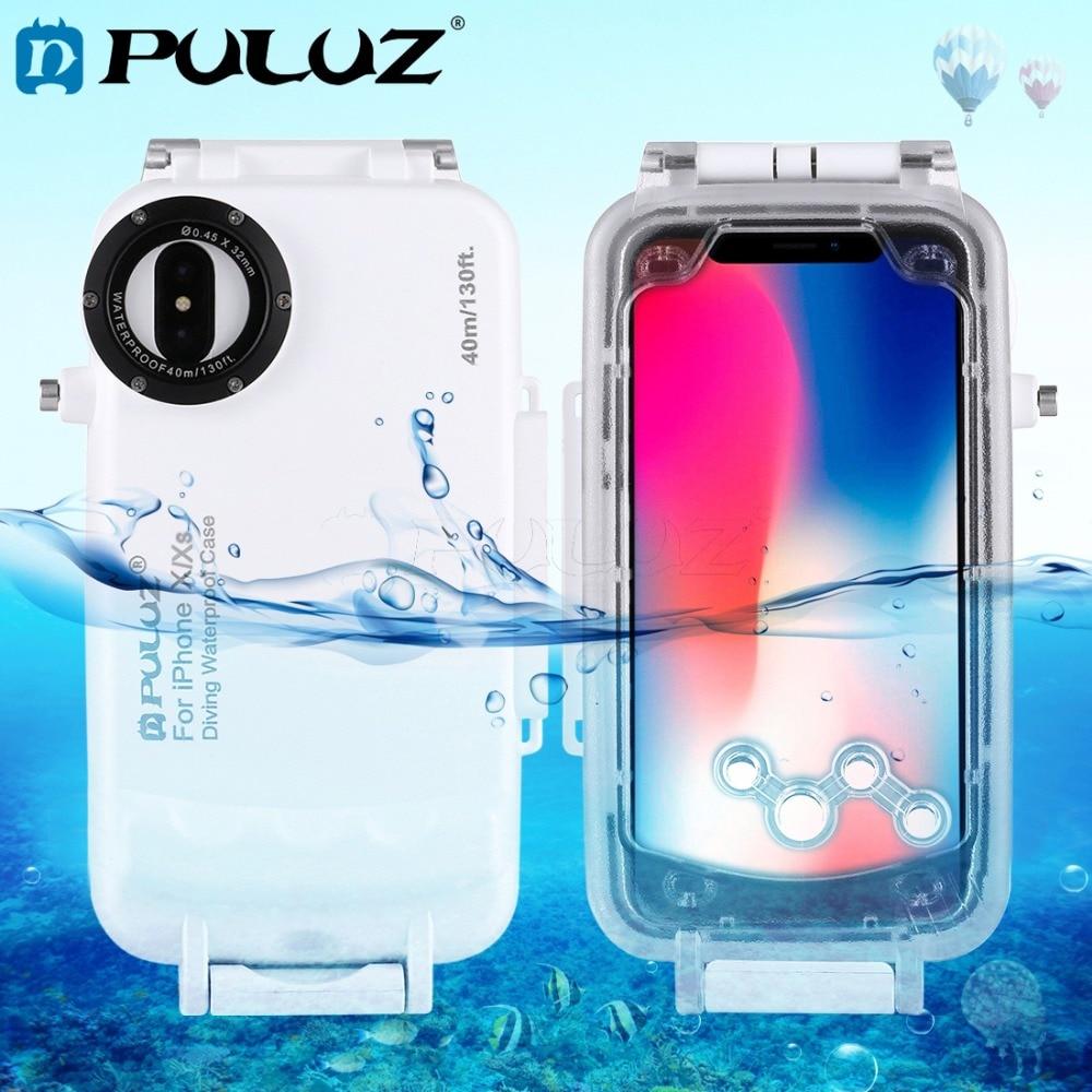 PULUZ pour iPhone X/XS Boîtier Sous-Marin 40 m/130ft Plongée Étui de protection pour Le Surf Natation Plongée En Apnée Photo vidéo et Lanière