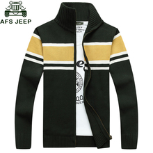 AFS JEEP 2017 Fashion Patchwork Christmas Sweater Stand Zipper Collar Warm Thick Windbreaker Sweater Men Big Size M-3XL Outwear