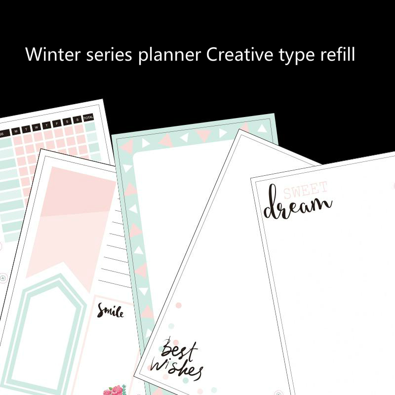 Lovedoki Winter Series  Creative Notebook Core Filler Paper 2018 Day Planner Blank Grid Refill For Dokibook School Stationery