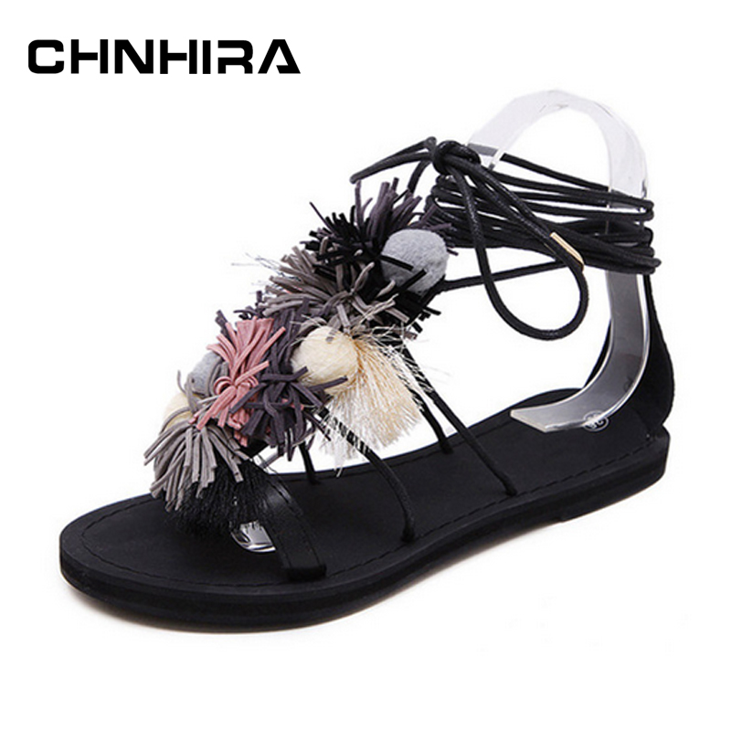 for CHNHIRA Vintage Gladiator Sandals Ball Tassel Shoes Woman 2017 Platform Flats Casual Flip Flops Lace-Up Women Shoes #CH317 phyanic 2017 gladiator sandals gold silver shoes woman summer platform wedges glitters creepers casual women shoes phy3323