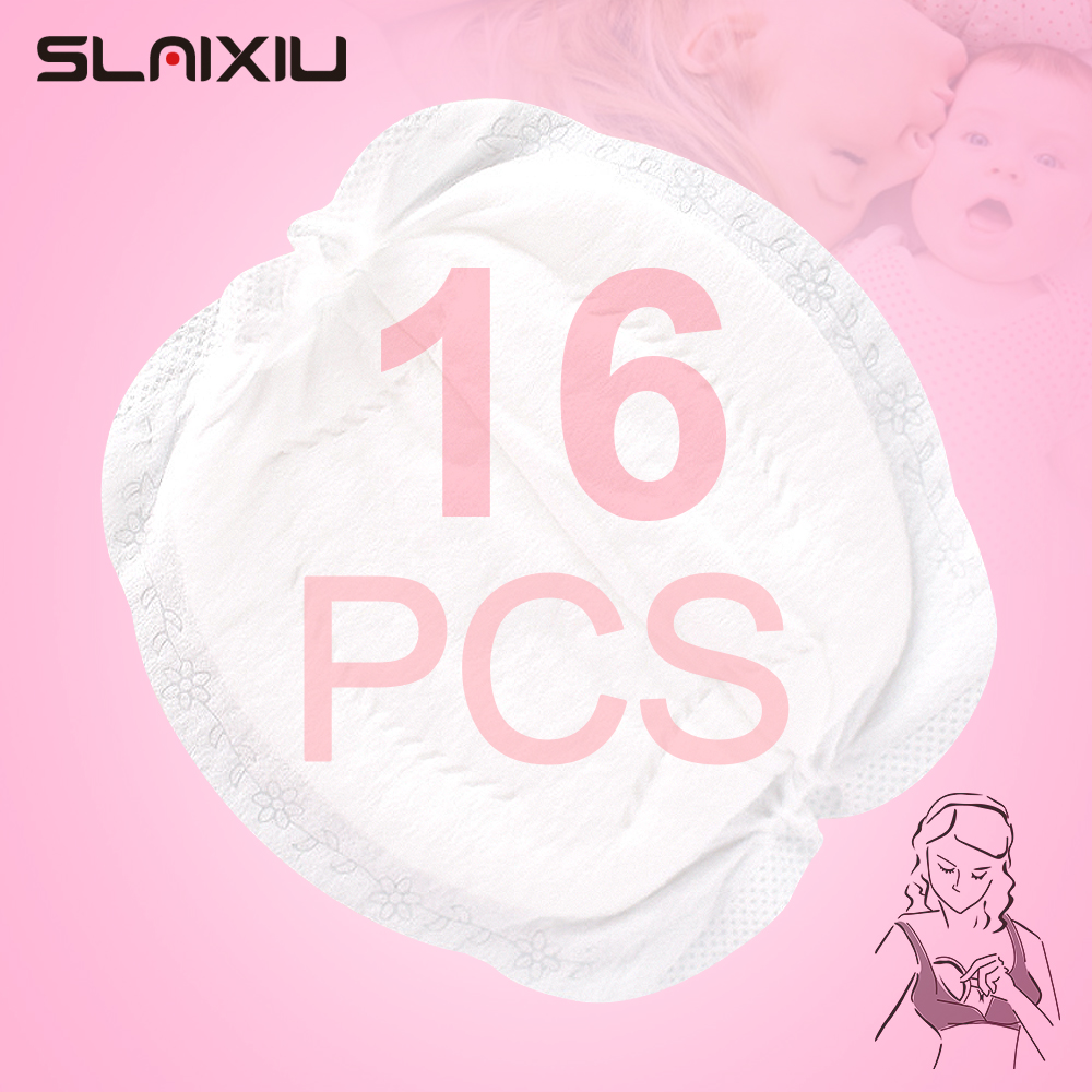 SLAIXIU 16 Pieces Breast Pads Nursing Pads Disposable Breast Pads Breastfeeding Accessories Ultra-thin Dry Soft