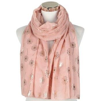 FOXMOTHER-bufanda de papel de aluminio para mujer, pañuelo de diente de león rosa dorado, Color rosa, blanco, púrpura, para la playa, nueva moda, envío directo