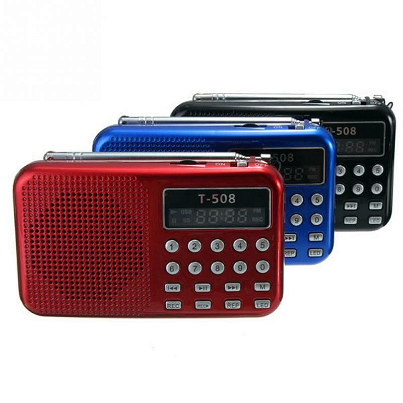 Hot koop Digitale FM-radio Micro SD / TF USB Disk mp3-radio Lcd-scherm internetradio met luidspreker RADT508