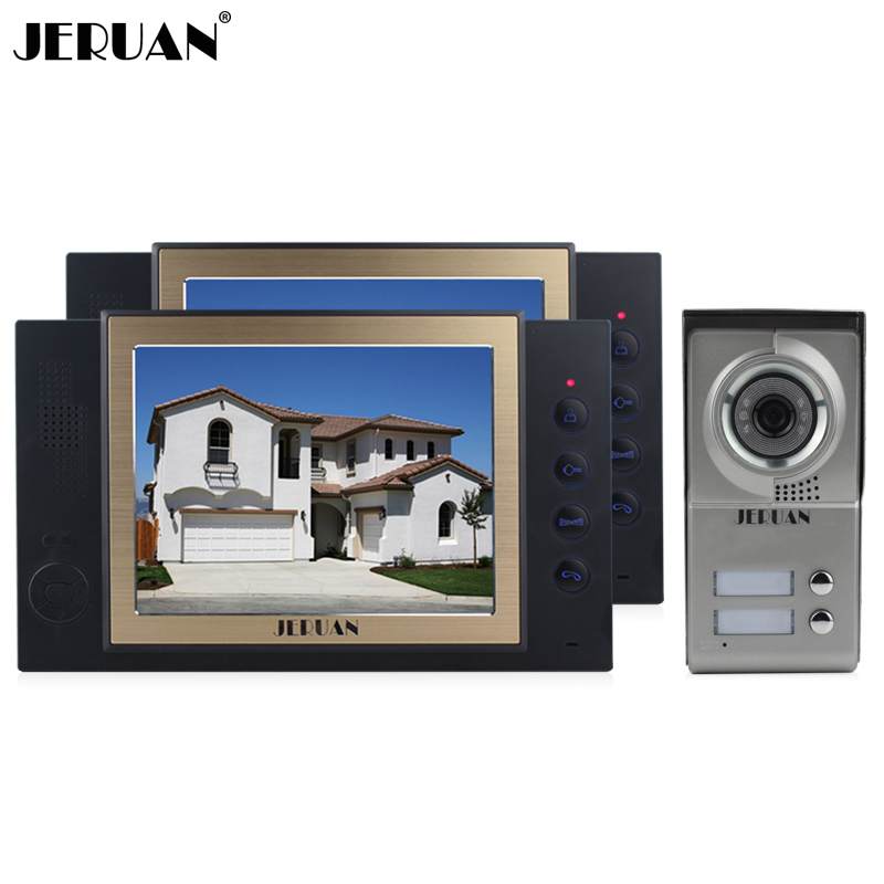 JERUAN Home Video Door Phone Doorbell Record intercom System 8 Inch  TFT LCD Screen Waterproof IR Camera 8GB SD FREE SHIPPING