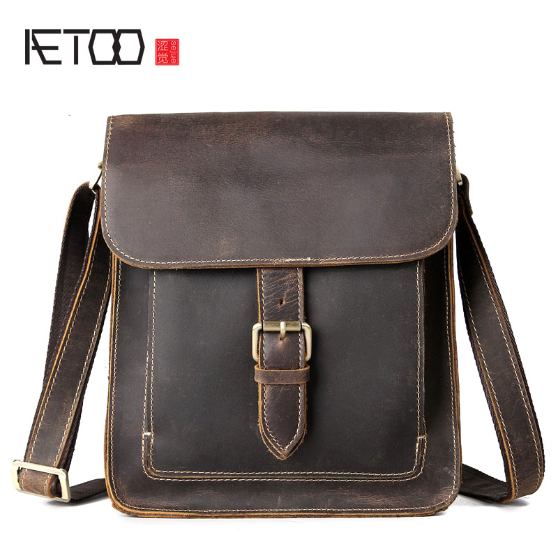 AETOO Retro crazy horse skin men bag head cowhide men crazy horse shoulder bag Messenger bag