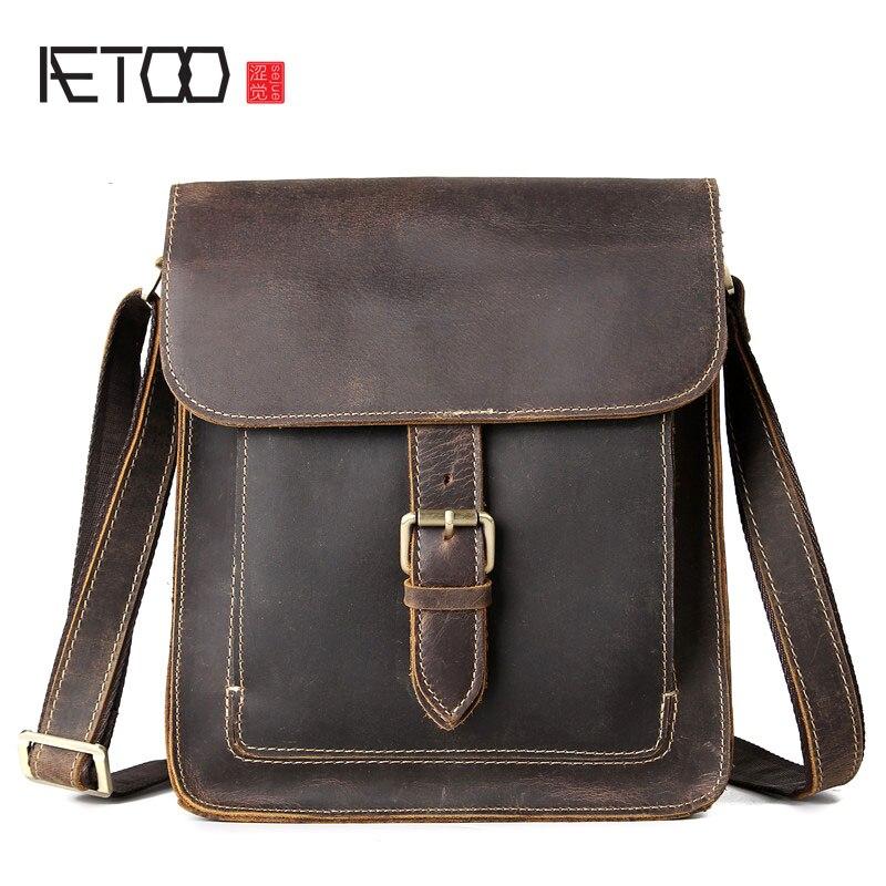 AETOO Retro crazy horse skin men bag head cowhide men crazy horse shoulder bag Messenger bag
