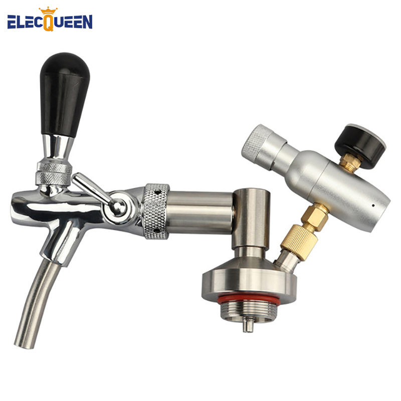 Stainless Steel Mini Keg Tap Dispenser with adjustable beer tap and Mini Co2 Keg Charger for