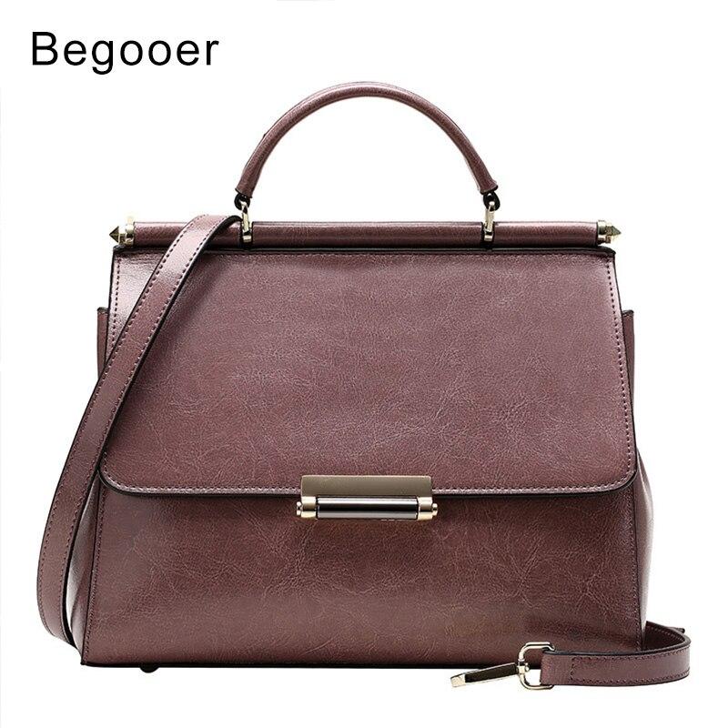 цена на BEGOOER Vintage Totes Women Genuine Leather Handbags Ladies Party Shoulder Bags Fashion Female Messenger Bags bolsa feminina