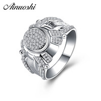 AINOUSHI Original 925 Sterling Silver Male Wedding Engagement Rings Sona High Quality Male Rings Anniversary Silver Jewelry Gift