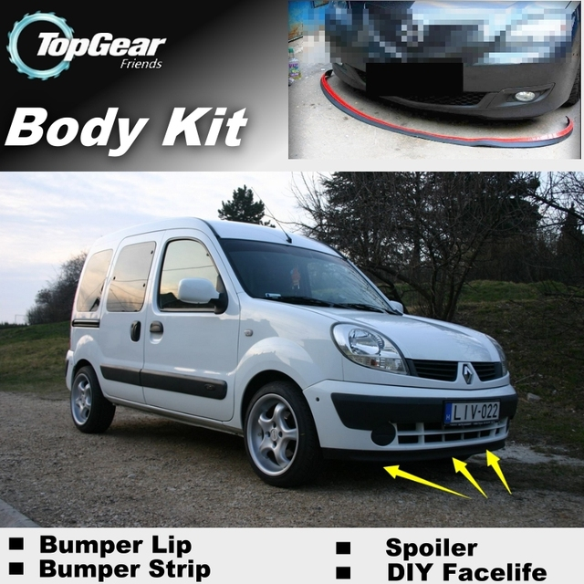 US $39 03  Bumper Lip Deflector Lips For Renault Kangoo Front Spoiler Skirt  For TopGear Friends to Car Tuning / Body Kit / Strip-in Front Skirt from