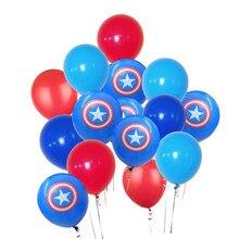 15pcs/lot 12inch Avengers Alliance Blue Red Latex Balloons Captain America Shield Globos Classic Hero Theme Birthday Party Decor