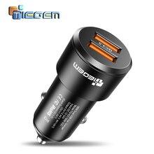 Автомобильное USB зарядное устройство TIEGEM, быстрая зарядка 3,0, зарядное устройство для мобильного телефона, двойной USB, быстрая QC 3,0, автомобильное зарядное устройство для samsung Xiaomi, зарядное устройство 36 Вт