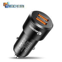 TIEGEM Dual USB Car Charger Quick Charge 2.0 3.0 Mobile Phone USB Car charger for iPhone 7 8 X Samsung Xiaomi Car Phone Charger