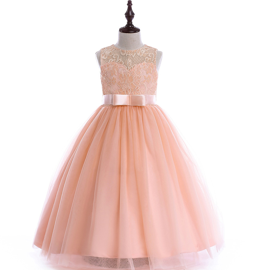 Girls Lace UP Ball Gown Quality Wedding Dresses 2018 Kids Flower Girl Princess Costume for Birthday Party Dress with Belt 2018 party girls dresses lace bow wedding birthday dresses for girls teenager ball gowns princess costume girl frock bride 6 15y