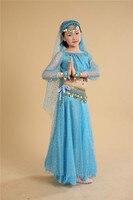 Criança Traje de Dança Do Ventre para a Fase de Top + saia + headwear + véu + cintura Cadeia + pulseira) Indiano Bollywood Trajes de Dança do Desgaste da dança 89