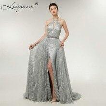 цена 2019 Sparkling Silver Gray Halter Evening Dresses Front Split Elegant Prom Gowns Glitter Robe De Soiree Formal Dress with Bow в интернет-магазинах