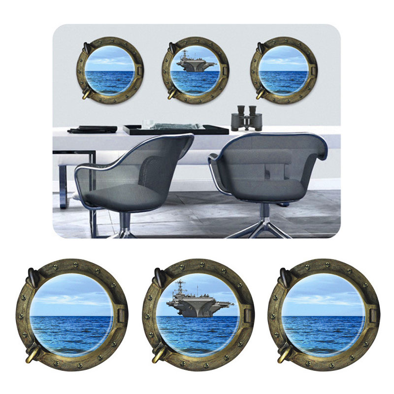 Creative Home Decor 3 Pcs/Set 3D Wall Sticker Submarine Windows Ocean Aircraft Carrier Pattern For Wall, Refrigerator, Door