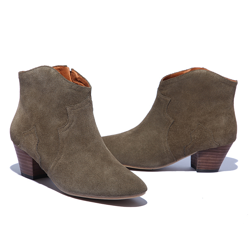2017 Spring Autumn Ankle Boots For font b Women b font Medium Heel 100 Genuine Nubuck