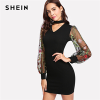 SHEIN Woman Bishop Sleeve Elegant Party Dresses 2018 Spring Autumn Floral Bodycon DressChoker Neck Embroidered Mesh