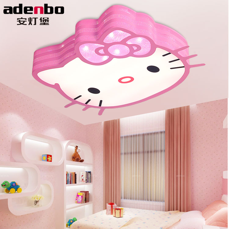 remote control hello kitty kids ceiling lights led ceiling lamp white and pink 24w smd. Black Bedroom Furniture Sets. Home Design Ideas