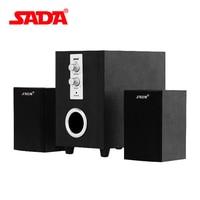 SADA D 200T USB Speaker Multimedia Active Speaker Desktop PC Sound 2.1 Wooden Shock Heavy Bass Gun for Notebook Loudspeaker
