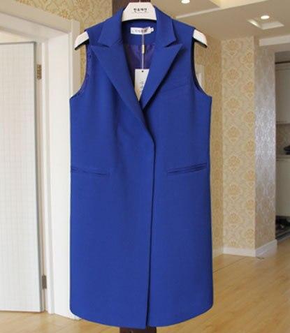 Solid Covered Button Plus Size Long Women Blazer Vest Coat Female Sleeveless Pockets Suit Gilet Colete Feminina 9 Colors