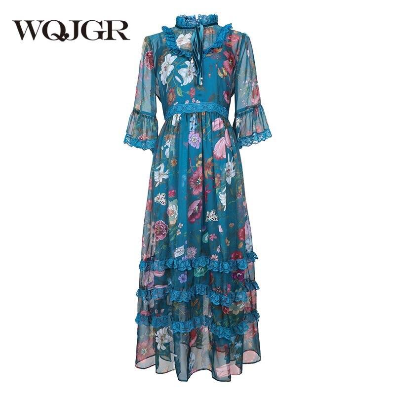 WQJGR robe d'été 2019 col Mandarin robes femme fleur imprimé fête nuit Empire manches courtes élégant robes De Fiesta