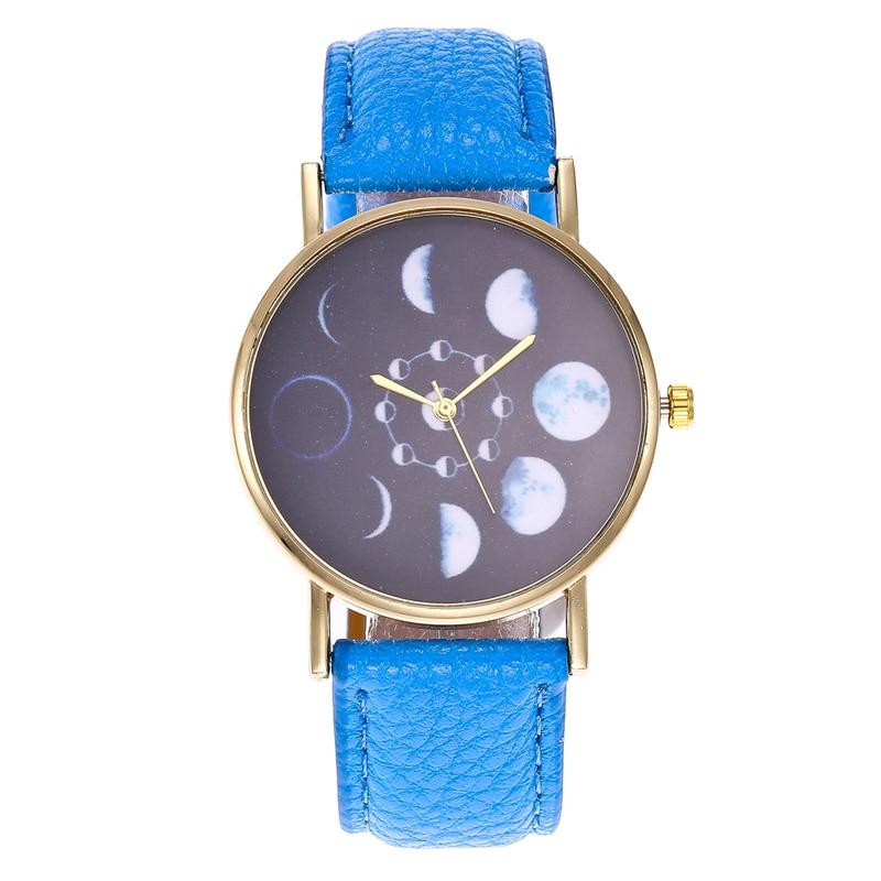 Unisex Simple Lunar Eclipse Dial Quartz Watch PU Leather Strap Wristwatch Gifts LXH