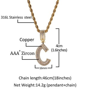 Image 5 - THE BLING KING English Initials Baguette Letters Necklace Pendant Wirh 4mm Cubic Zirconia Tennis Chains Fashion Hiphop Jewelry