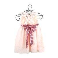 Летние 2017 Платье для маленькой девочки лук V-Back Кружева шифон дети платье Новый стиль Валентина одежда принцессы модные Костюмы