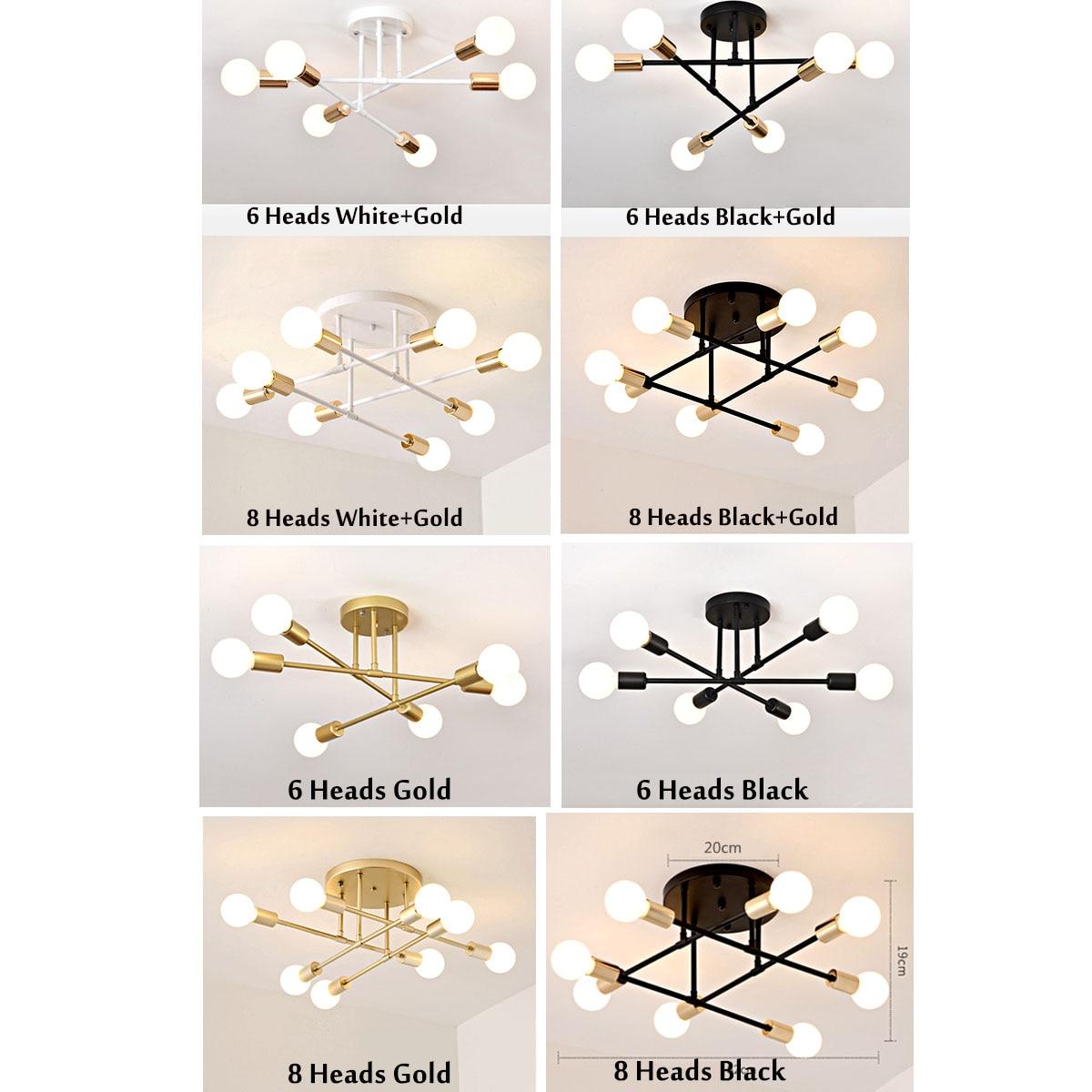HTB1mXEUc8WD3KVjSZKPq6yp7FXaM 6/8 Head LED Industrial Iron Ceiling Lamp Black/Golden European Minimalist Living Room Lighting 220V E27 Anti-Rust & Durable