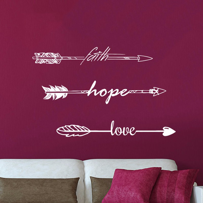 New Beautiful Wall Sticker Quotes Faith Hope Love Arrow Quote Vinyl Wall  Sticker Bedroom Decal Art Home Decor Feather Arrows In Wall Stickers From  Home ...