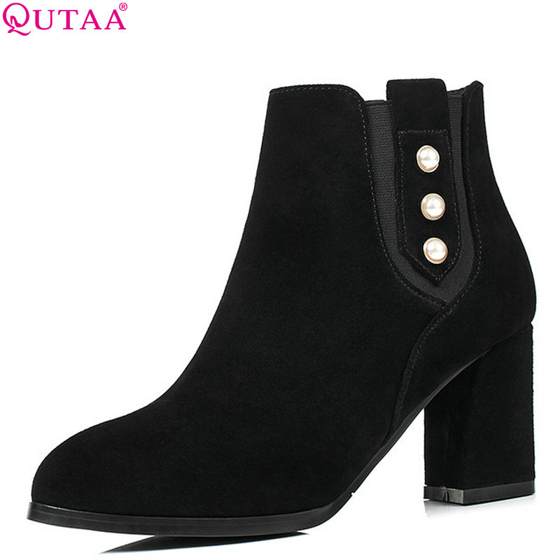 QUTAA 2019 Fashion Women Ankle Boots All Match Platform Zipper Pointed Toe Winter Boots Women Motorcycle Boots Big Size 34-42 women s ankle boots strappy pointed toe vogue comfy all match shoes