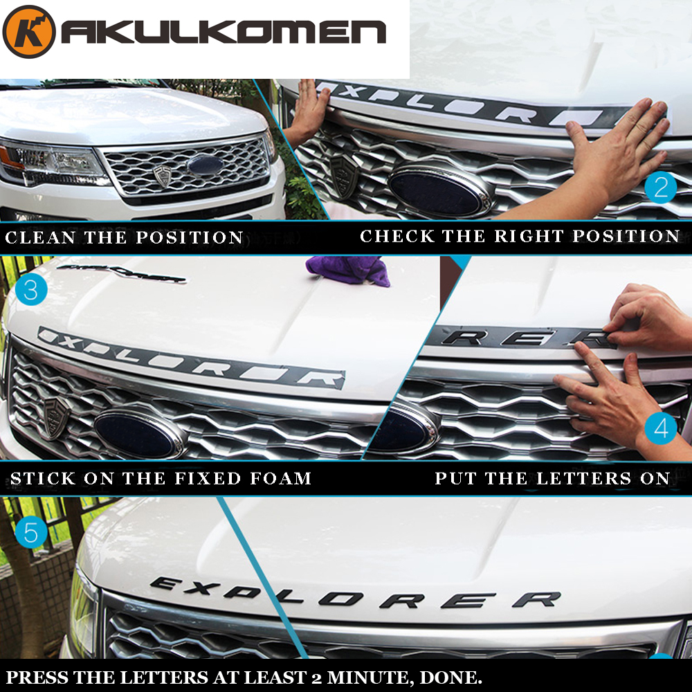 Auto Car 3D EXPLORER Letters Hood Emblem Chrome Logo Badge Sticker For 2011 2012 2013 2014