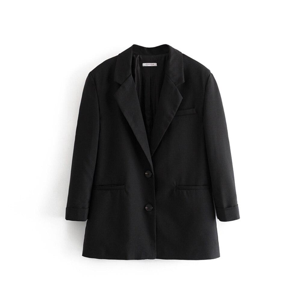 100% QualitäT Klacwaya Frauen Mode Blazer Anzug 2019 Büro Damen Lose Schwarz Blazer Jacken Einzelne Brust Mädchen Casual Oversize Anzüge Set Ein GefüHl Der Leichtigkeit Und Energie Erzeugen