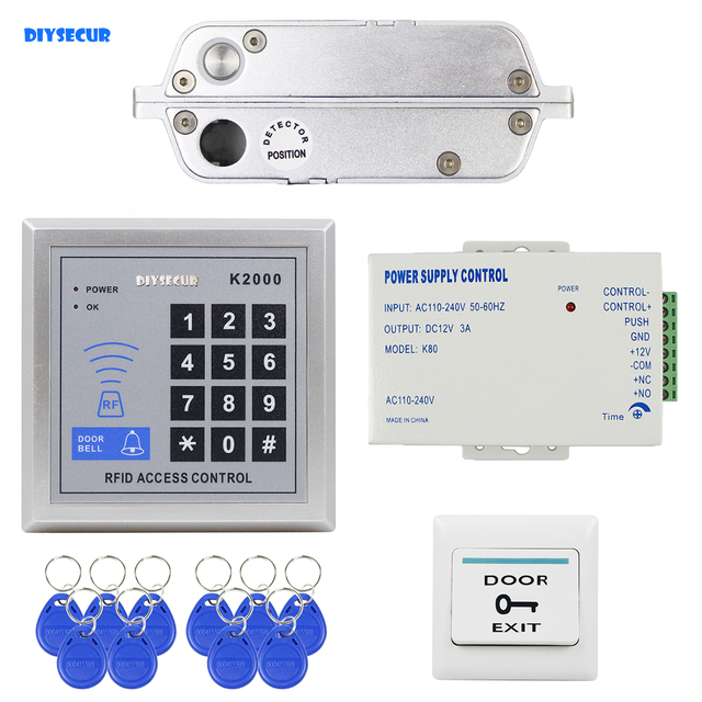 DIYSECUR 125KHz RFID Password Keypad Access Control Security System Full Kit Set Electric Drop Bolt Lock Electric Mortise Lock