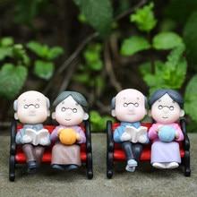 Novo CONJUNTO 1 Ornamento Brinquedos Micro Paisagem Decoração de Casa Miniaturas Casa De Bonecas Boneca de Brinquedo Bonecas Casal Avós Figurinhas