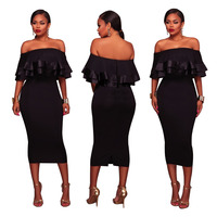 Ruffles 2017 Summer Dress Women Plus Size Strapless Sexy Off Shoulder Lace Party Bodycon Black Dresses