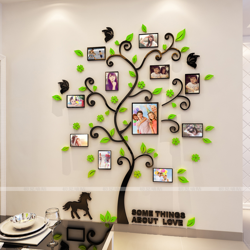 Wall sticker 3D crystal frame tree Photo wall Living room, bedroom, office inspirational photos Wall sticker - 2