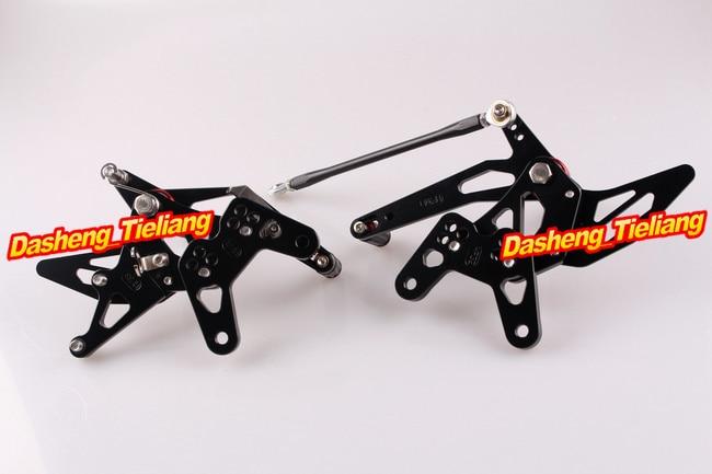 CNC Rearset задний Набор подножки для Kawasaki Ninja ZX6R 2007 2008 алюминиевый сплав черный, регулируемый