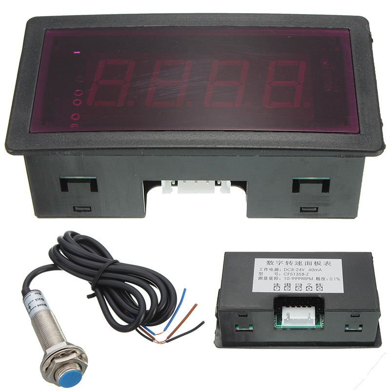 Red 4 Digital LED Tachometer RPM Speed Meter 10-9999RPM + NJK-5002C Magnet NPN Hall Proximity Switch Sensor 5 Wires Mayitr цены